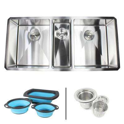 Undermount 16-Gauge Stainless Steel 42 in. x 20 in x 10 in. Triple Bowl Kitchen Sink with Collapsible Silicone Colanders