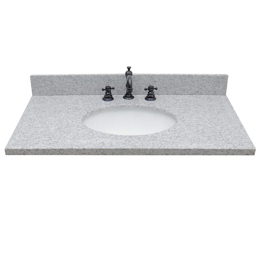 Ragusa 37 in. W x 22 in. D Granite Single Basin Vanity Top in Gray with White Oval Basin