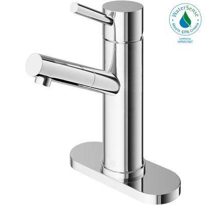 Noma Single Hole Single-Handle Bathroom Faucet in Chrome with Deck Plate