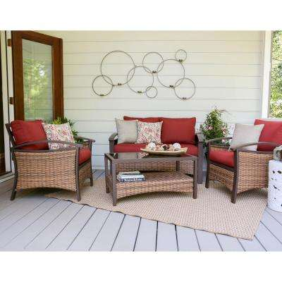 Thompson 4-Piece Wicker Patio Conversation Set with Red Cushions
