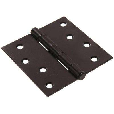 4 in. Black Residential Door Hinge with Square Corner Removable Pin Full Mortise (9-Pack)