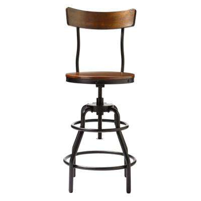 Industrial Mansard Adjustable Height Black Bar Stool with Backrest