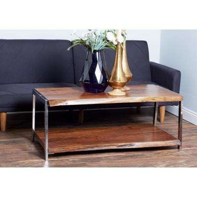 Brown and Silver Coffee Table with Bottom Shelf
