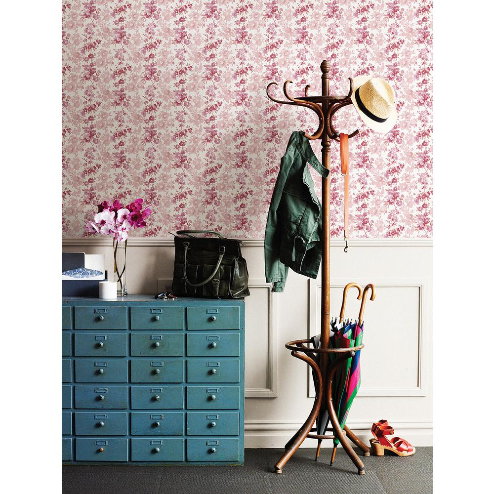 Charlise Pink Floral Stripe Wallpaper Sample