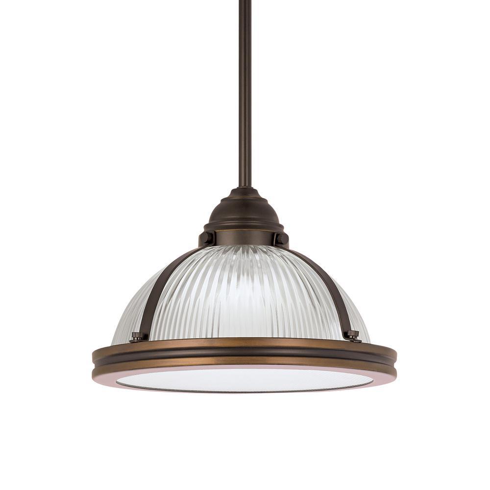 Pratt Street Prismatic 1-Light Autumn Bronze Pendant with LED Bulb