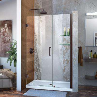 Unidoor 45 in. to 46 in. x 72 in. Frameless Hinged Pivot Shower Door in Oil Rubbed Bronze with Handle