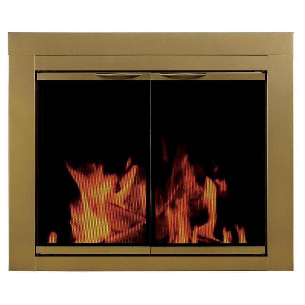 Pleasant Hearth - Ashlynn Small Glass Fireplace Doors-DISCONTINUED - With decorative cabinet style doors and an antique brass finish