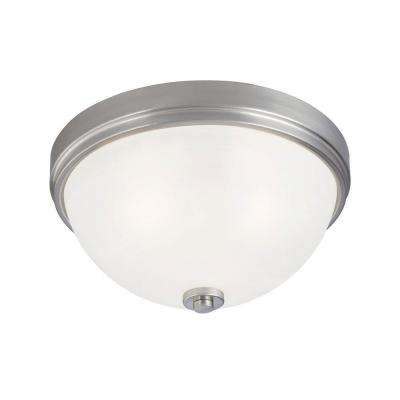 3-Light Ceiling Fixture Brushed Nickel Interior Flush-Mount with Frosted White Alabaster Glass