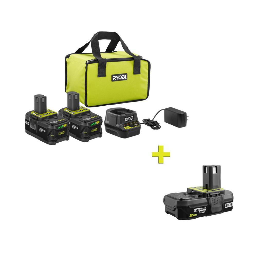 RYOBI 18-Volt ONE+ High Capacity 4.0 Ah Battery (2-Pack) Starter Kit with Charger and Bag with FREE ONE+ 2 Ah Compact Battery was $281.0 now $99.0 (65.0% off)