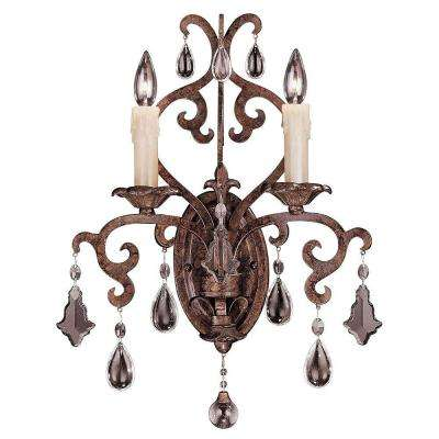 2-Light New Tortoise Shell Sconce with Full Cut Clear Crystals