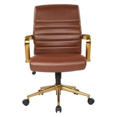 Mid-Back Saddle Faux Leather Chair with Gold Arms and Base