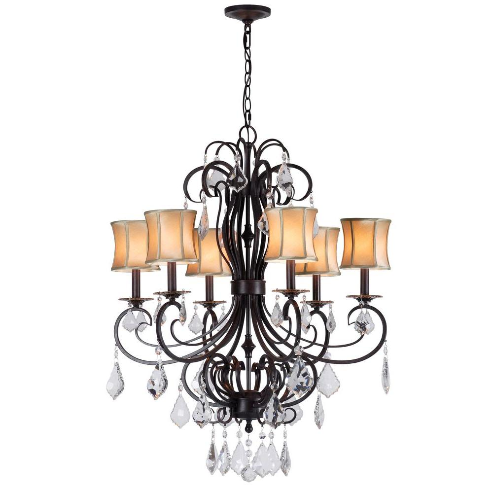 World imports annelise 6 light bronze chandelier with fabric world imports annelise 6 light bronze chandelier with fabric shades and crystal drop accents wi885289 the home depot arubaitofo Choice Image