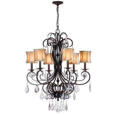 Annelise 6-Light Bronze Chandelier with Fabric Shades and Crystal Drop Accents