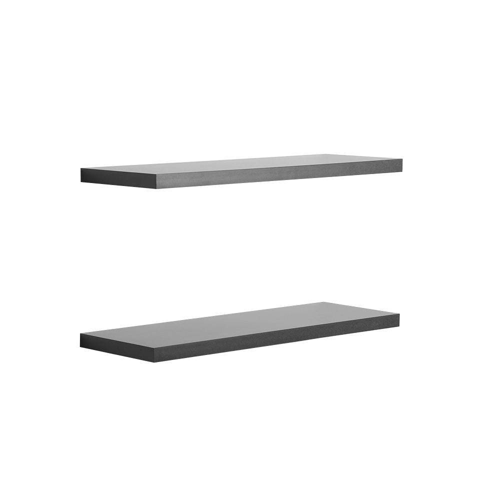 24 in. W x 1 in. H x 8 in. D Black Floating Shelves (2-Pack)