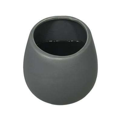 Round 5 1/2 in. x 6 in. Dark Grey Ceramic Wall Planter
