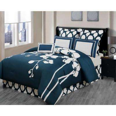 April Orchidea Floral Reversible Indigo 6-Piece Queen Comforter Set