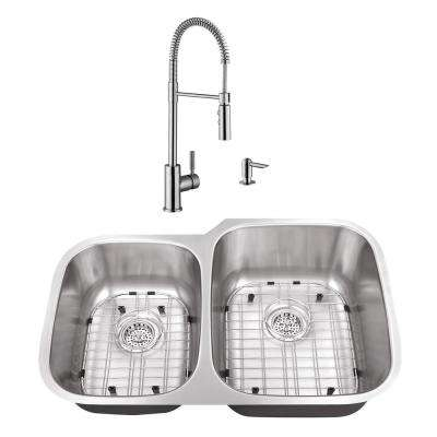 Undermount Stainless Steel 32 in. 40/60 Double Bowl Kitchen Sink with Brushed Nickel Faucet