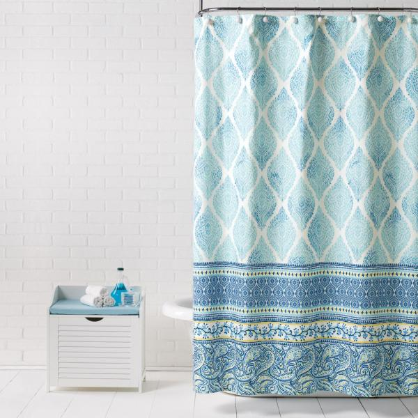 Boho Paisley Blue 72 in. Shower Curtain