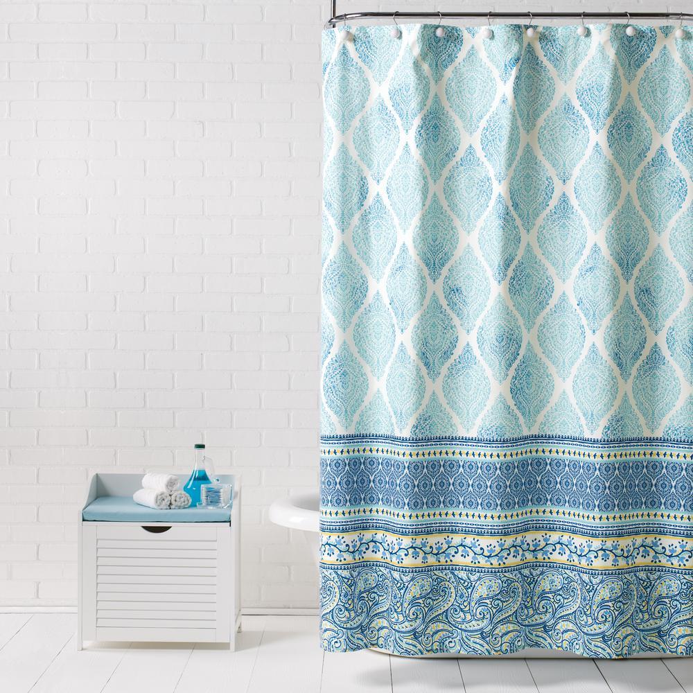 Saturday Knight Boho Paisley Blue 72 in. Shower Curtain
