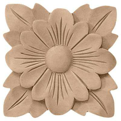 5 in. x 3/4 in. x 5 in. Unfinished Wood Maple Springtime Rosette