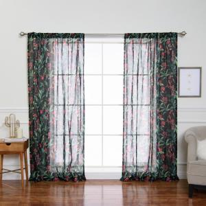 Floral Print Sheer Rod Pocket Curtain Panel - 84 inch L x 52 inch W (2-Pack) by