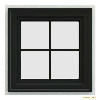 23.5 in. x 23.5 in. V-4500 Series Bronze Painted Vinyl Left-Handed Casement Window with Colonial Grids/Grilles