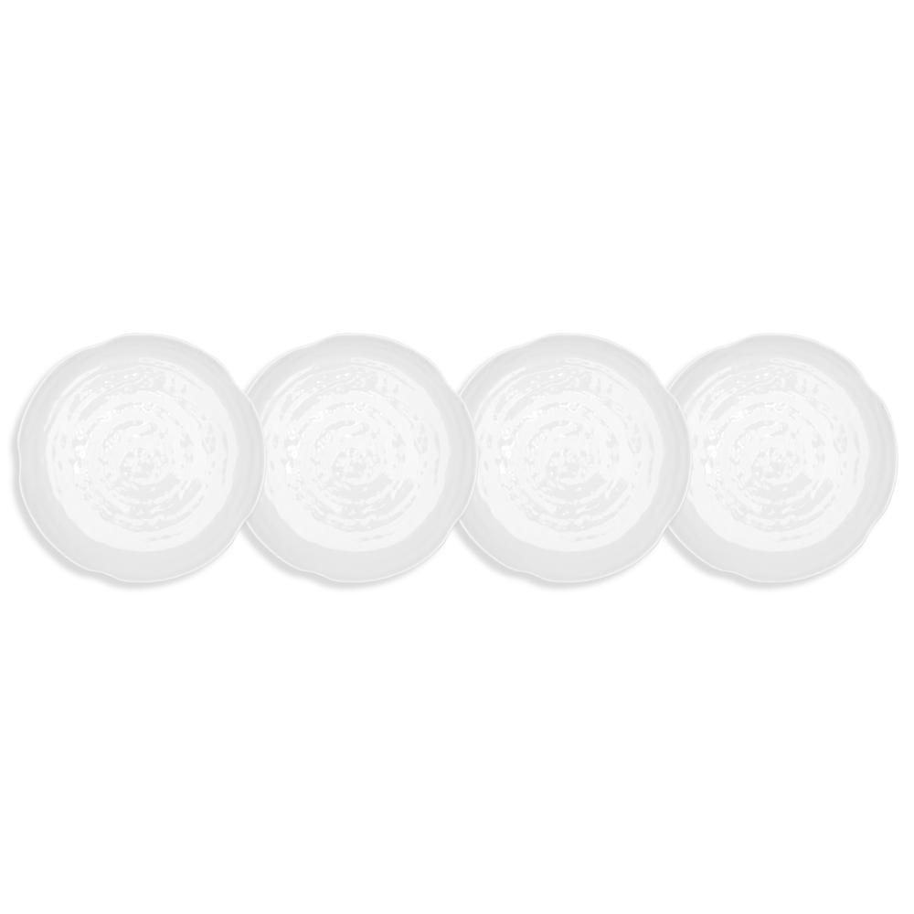 Pearl 4-Piece 5.5 in. White Melamine Appetizer Plate Set