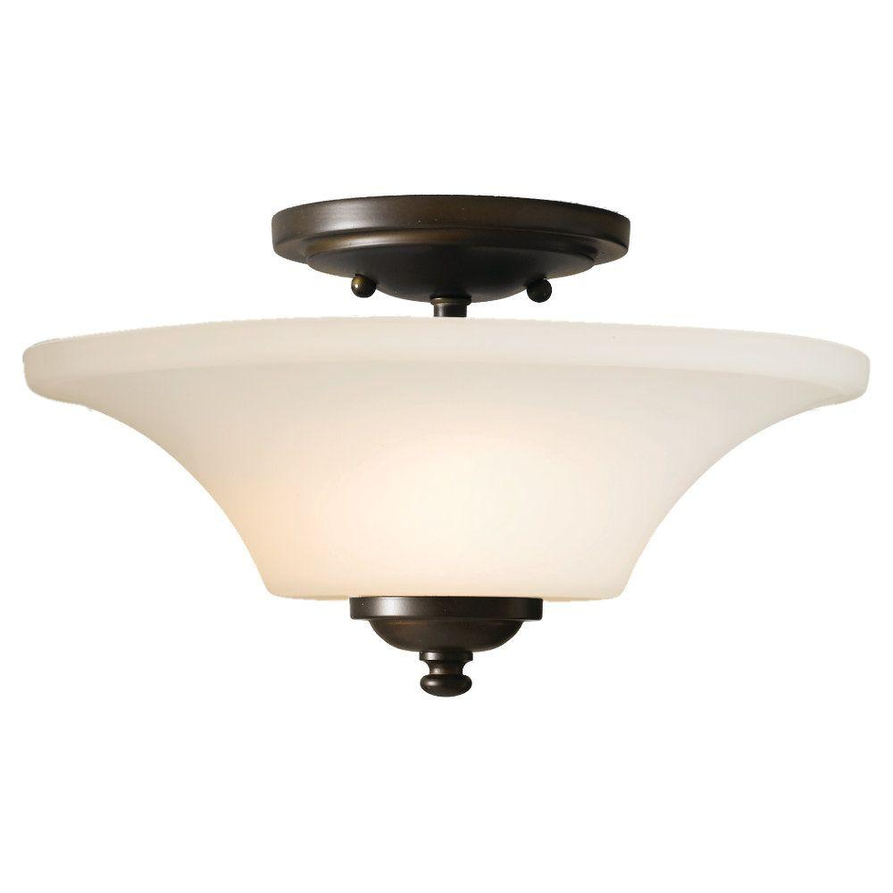 Barrington 13 in. W 2-Light Oil Rubbed Bronze Semi-Flushmount with Opal