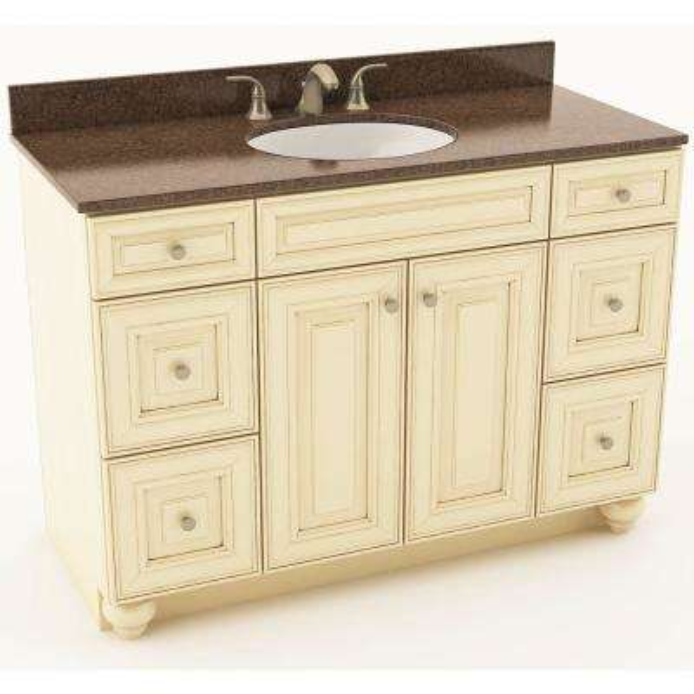 Savannah 49 in. W x 20-3/4 in. D Bath Vanity in Hazelnut with Quartz Vanity Top in Iron Bark with Oval White Basin