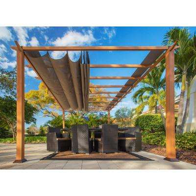 Paragon 11 ft. x 16 ft. Aluminum Pergola with The Look of Canadian Wood and Cocoa Canopy
