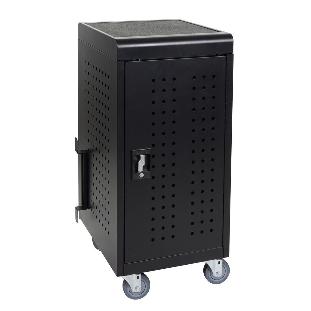 20 in. x 21 in. 24-Capacity Tablet Charging Cart in Black