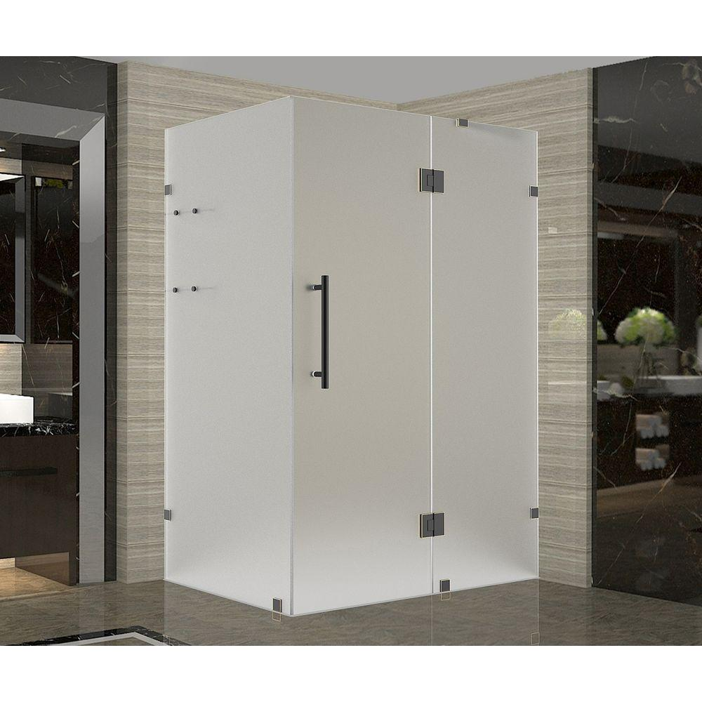 Aston Avalux GS 48 in. x 36 in. x 72 in. Frameless Hinged Shower Enclosure with Frosted Glass and Shelves in Oil Rubbed Bronze