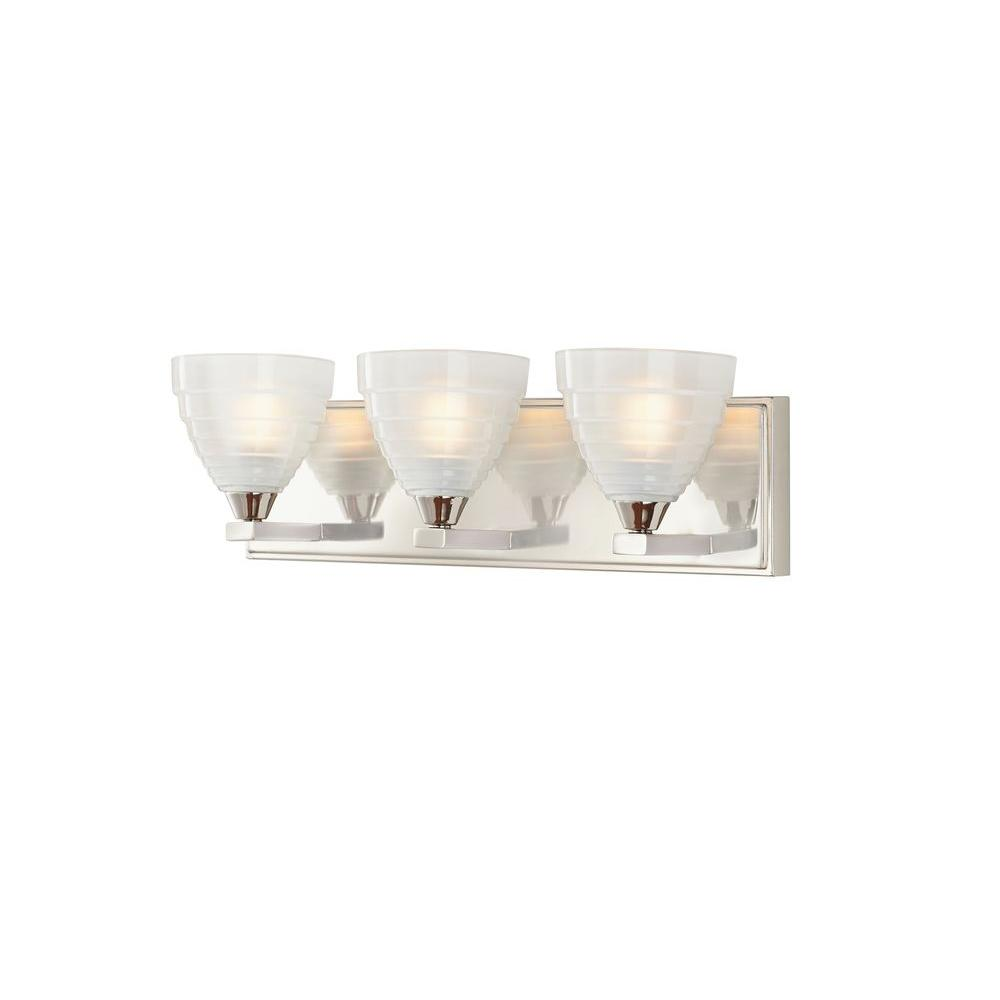Home Decorators Collection Bovoni 3-Light Polished Nickel Vanity Light