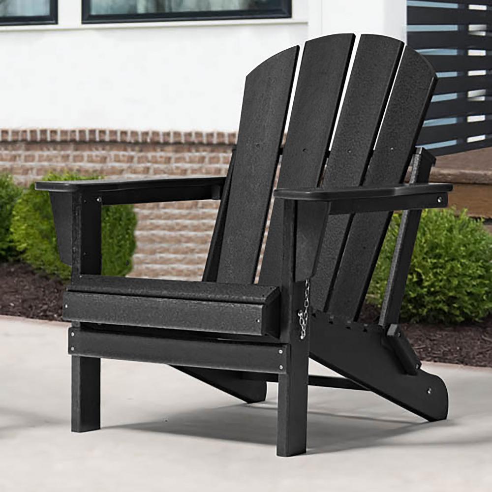 Addison Black Outdoor Folding Plastic Adirondack Chair