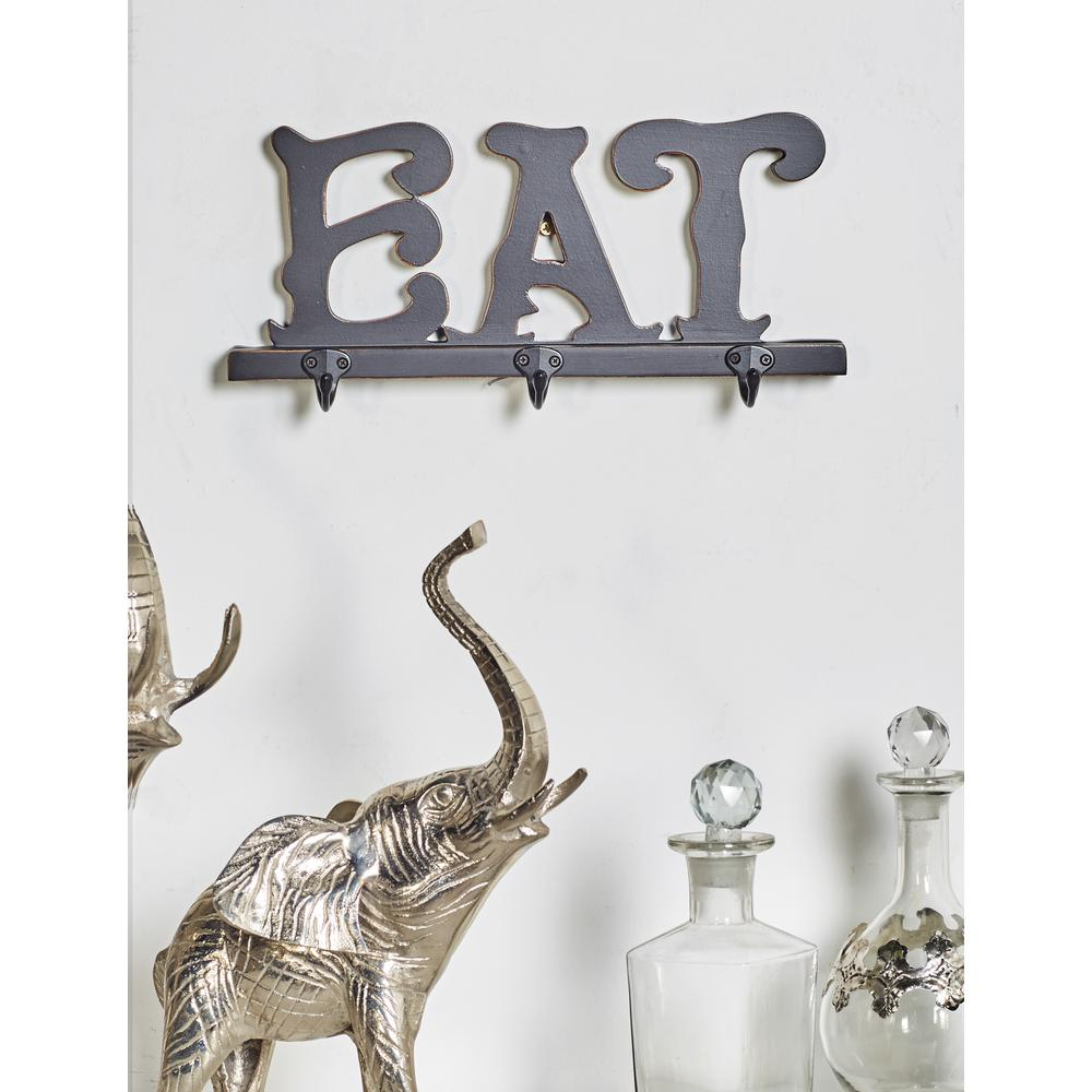 "Black Wood and Iron ""EAT"" Wall Hook Rack"