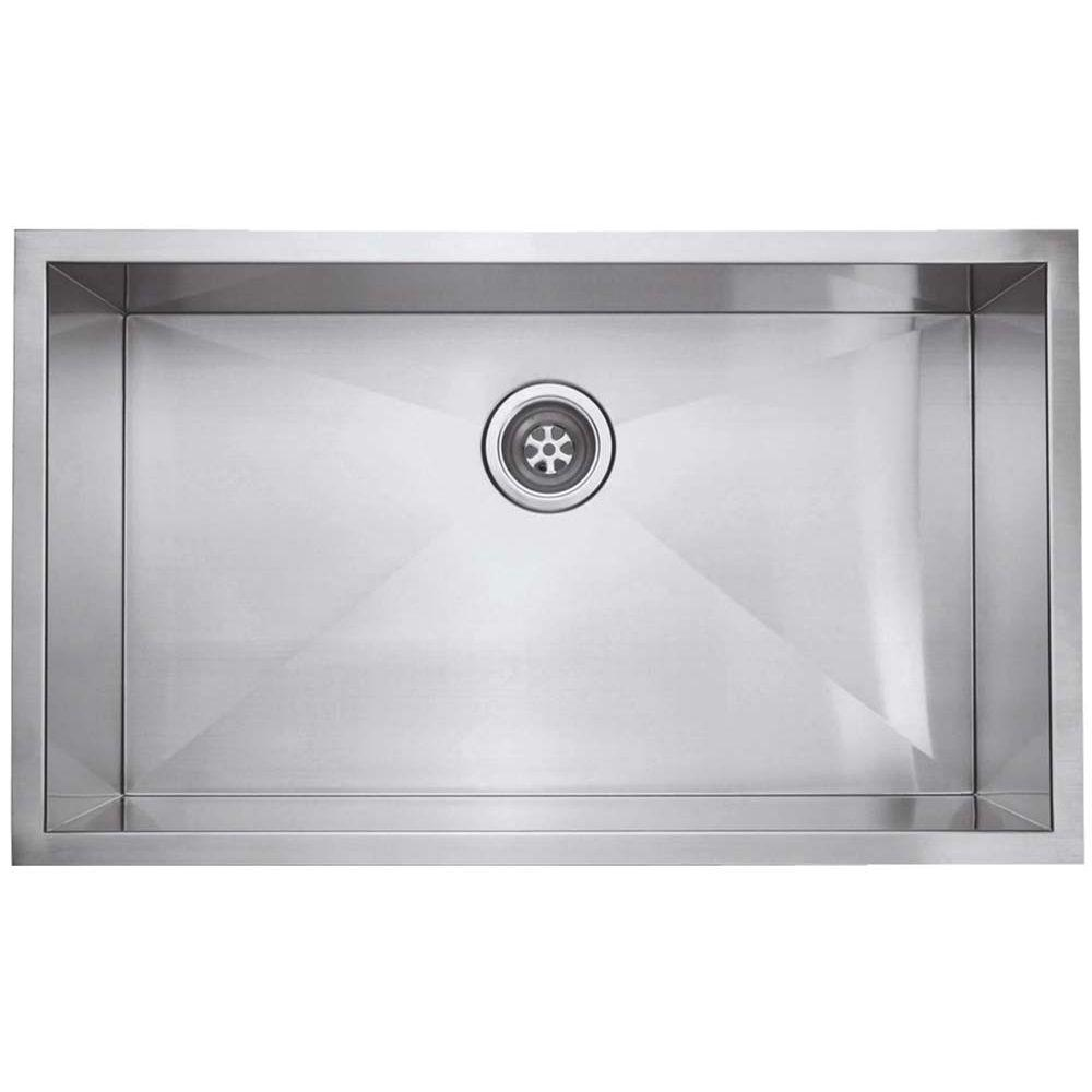 Zero Radius Undercounter Stainless-Steel 30 in. x 16-1/2 in. Single Bowl Kitchen Sink in Satin, Silver