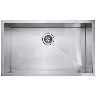 Zero Radius Undercounter Stainless-Steel 32.in Single Bowl Kitchen Sink in Satin