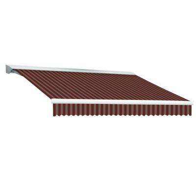 8 ft. DESTIN EX Model Right Motor Retractable with Hood Awning (84 in. Projection) in Burgundy and Tan Stripe
