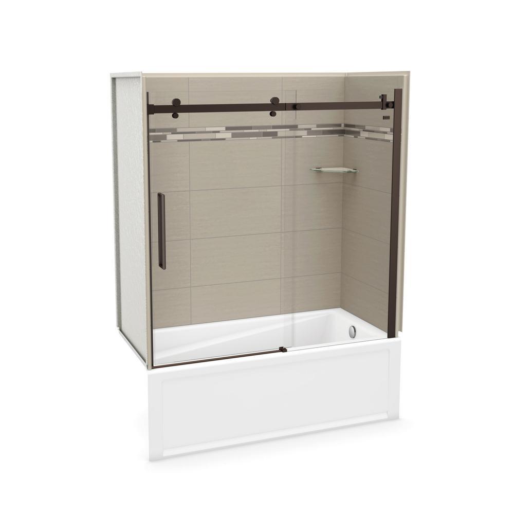 Utile Origin 30 in. x 59.8 in. x 81.4 in. Right Drain Alcove Bath and Shower Kit in Greige with Dark Bronze Door