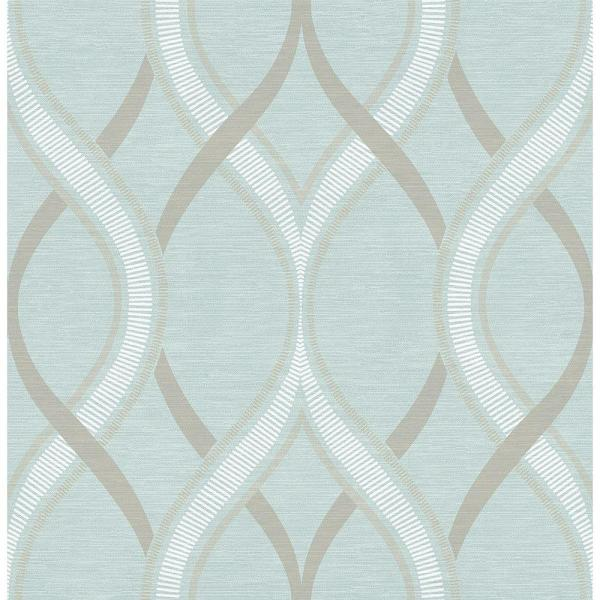 A-Street Frequency Turquoise Ogee Wallpaper 2625-21851