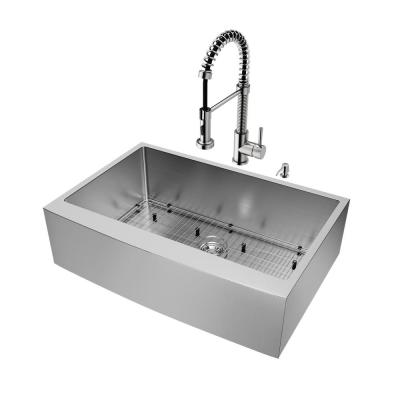 All-in-One 33 in. Bedford Stainless Steel Single Bowl Farmhouse Kitchen Sink with Pull Down Faucet in Stainless Steel