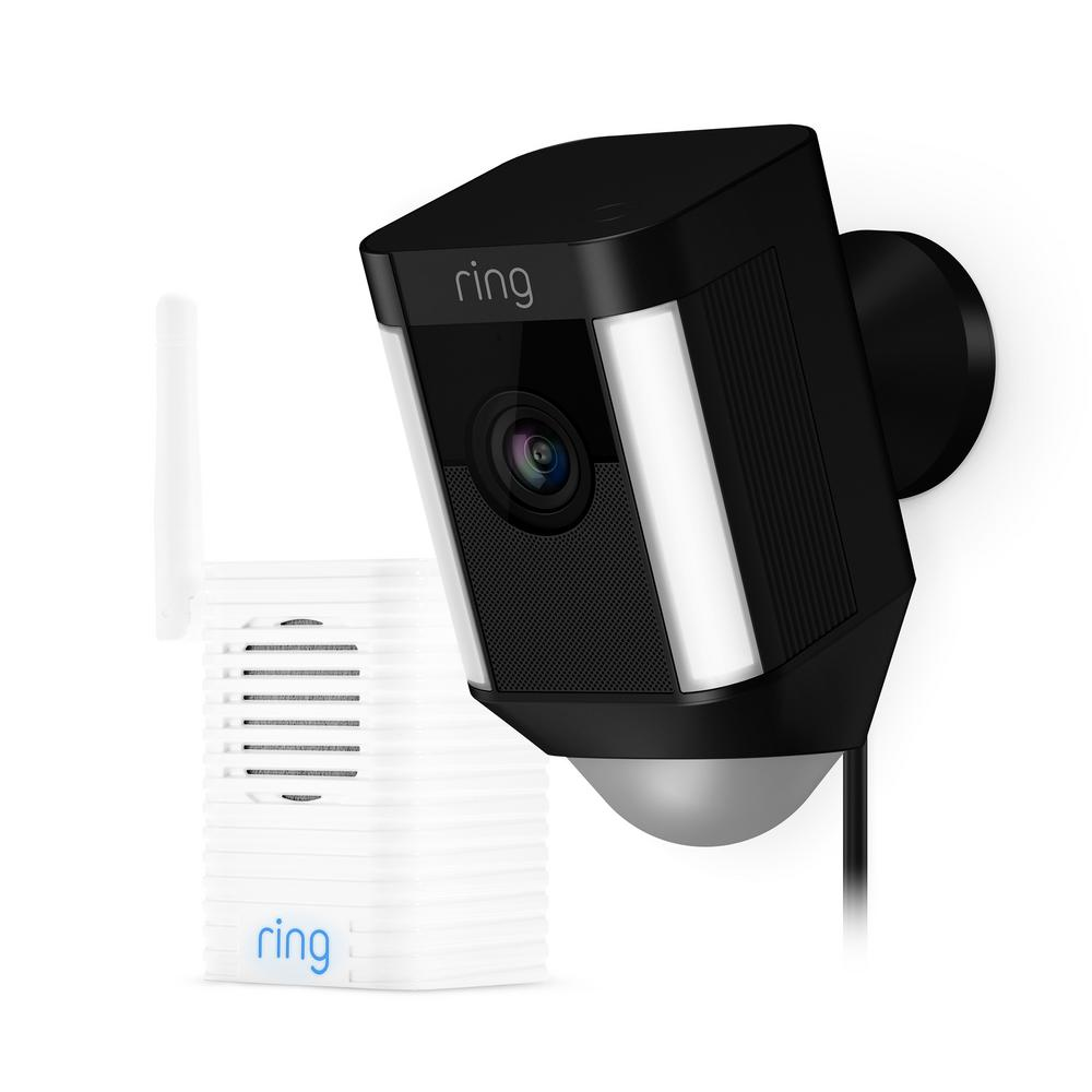 Ring spotlight cam wired outdoor security camera black for Security camera placement tool
