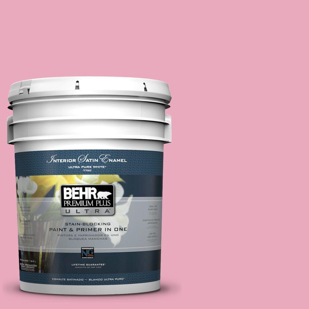 BEHR Premium Plus Ultra 5 gal. #T11-14 Kawaii Satin Enamel Interior Paint and Primer in One