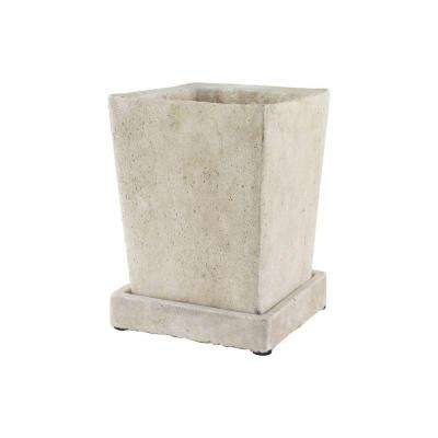 5-1/2 in. Tapered Square Cement Planter with Tray