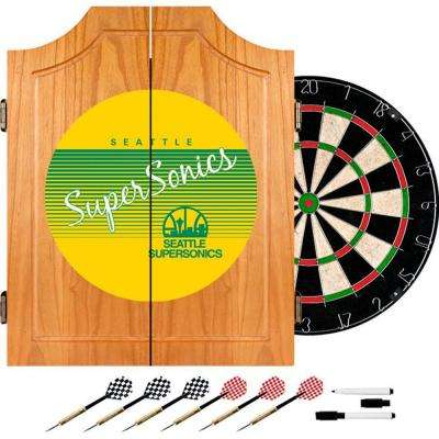 20.5 in. Seattle Super Sonics Hardwood Classics NBA Wood Dart Cabinet Set