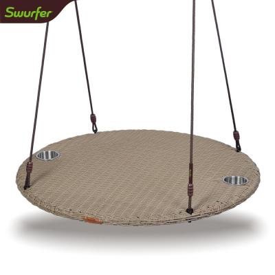 Chill 40 in. Sand Rattan Wood Patio Swing