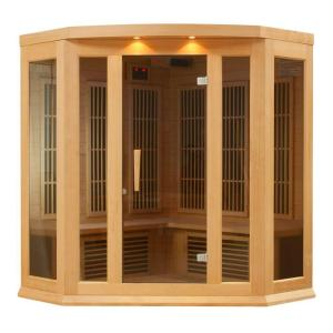 Better Life 3-Person Corner Carbon Infrared Sauna with Chromotherapy, Lighting and Radio by Better Life