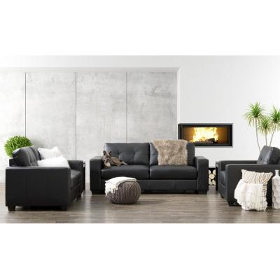 Club 3-Piece Tufted Black Bonded Leather Sofa Set