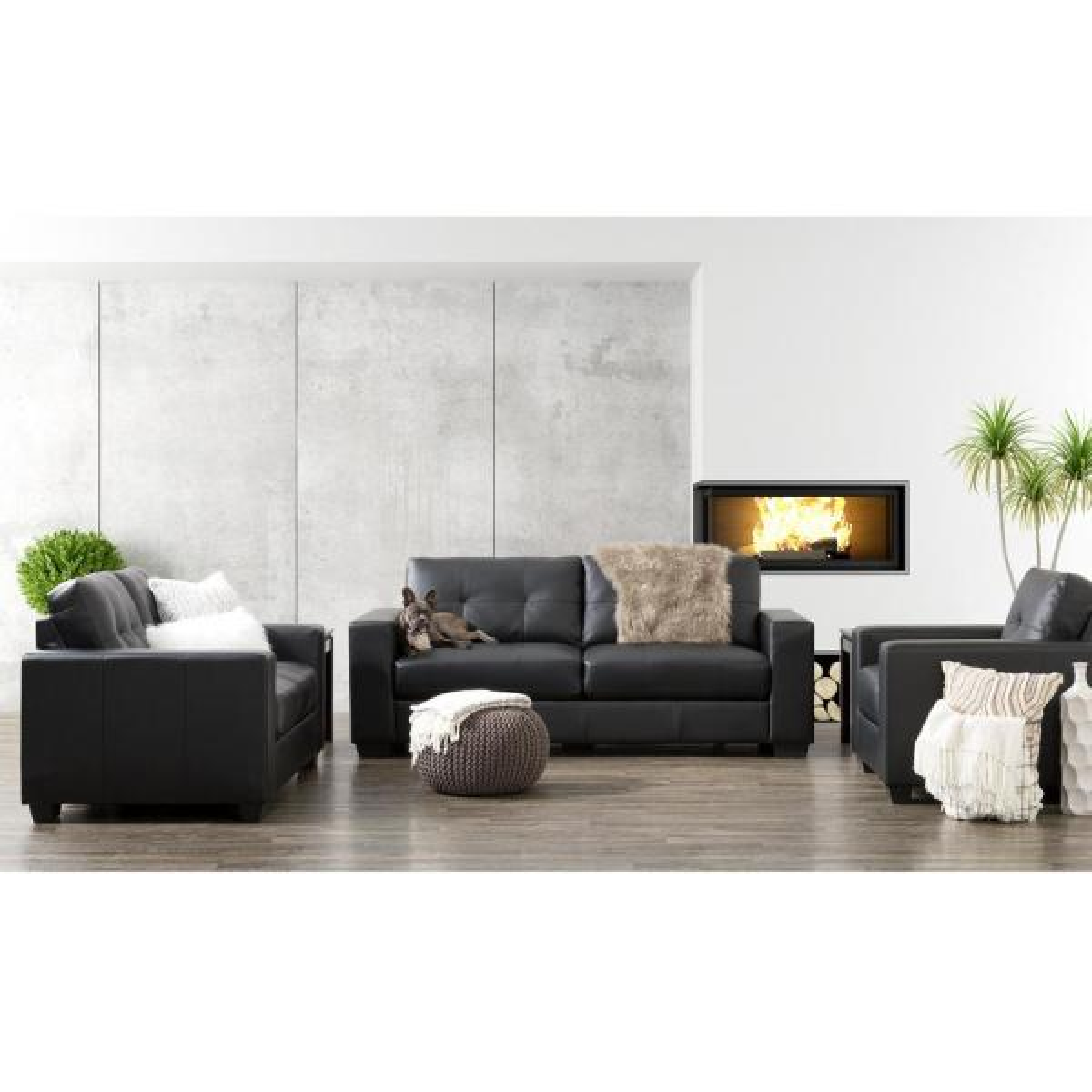 CorLiving Club 3-Piece Tufted Black Bonded Leather Sofa Set LZY-101-Z1
