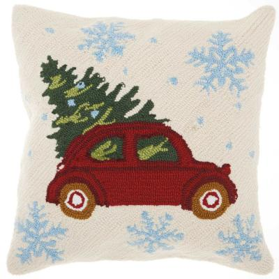 Home For The Holiday Christmas Tree On Car Multicolored Graphic Polyester 18 in. x 18 in. Throw Pillow